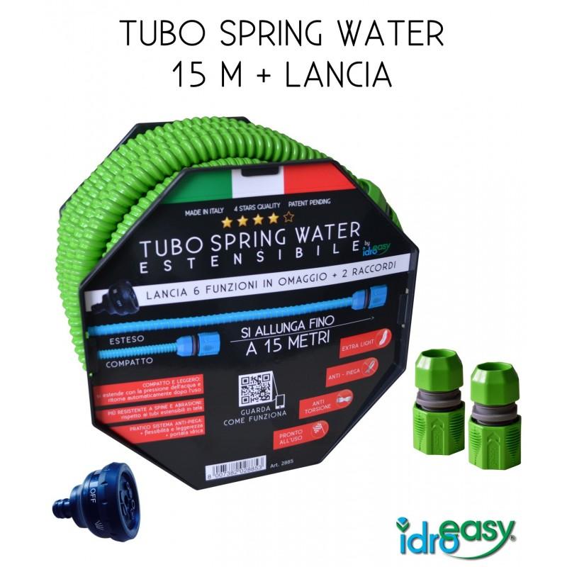 TUBO 15 m ESTENSIBILE SPRING WATER + 2 raccordi inclusi + lancia in omaggio